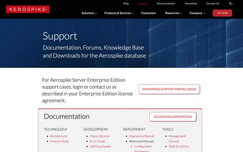 Screenshot of Support Page aerospike.com - (2) New Messages! - captured June 24, 2019