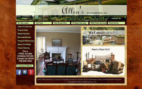 Screenshot of Home Page allensestateservices.com - Welcome To Allens Estate Services - captured Feb. 5, 2016