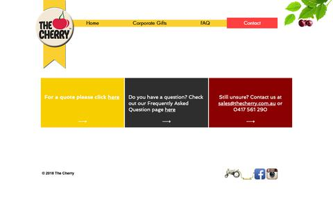 Screenshot of Contact Page thecherry.com.au - Customised Corporate Gifts in Sydney, Melbourne, Brisbane | The Cherry | Contact - captured Nov. 7, 2018