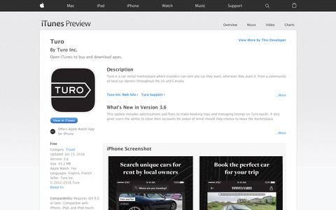 Screenshot of iOS App Page apple.com - Turo on the App Store - captured June 16, 2016