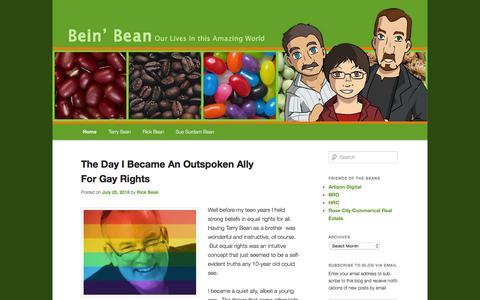 Screenshot of Home Page beinbean.com - Bein' Bean Our Lives in this Amazing World | Terry Bean - Rick Bean - Sue Surdam Bean - captured Oct. 8, 2015