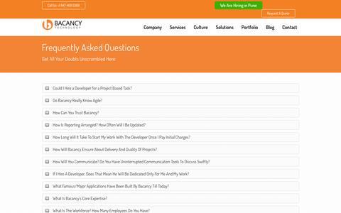 Screenshot of FAQ Page bacancytechnology.com - FAQs - Bacancytechnology - captured July 28, 2016