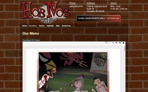 Screenshot of Menu Page hobnobsports.com - Our Menu - Hob Nob Sports Grill of Chandler AZ - captured Oct. 2, 2014