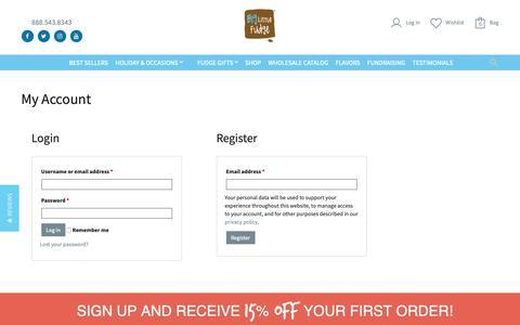 Screenshot of Signup Page biglittlefudge.com - Big Little Fudge Company » My Account - captured Nov. 6, 2018