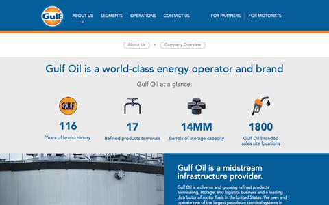Screenshot of About Page gulfoil.com - Company Overview | Gulf Oil - captured July 28, 2019