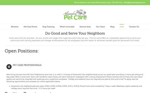 Screenshot of Jobs Page alexandriapetcare.com - Jobs - Alexandria Pet Care: Come work with the very best - captured July 29, 2018