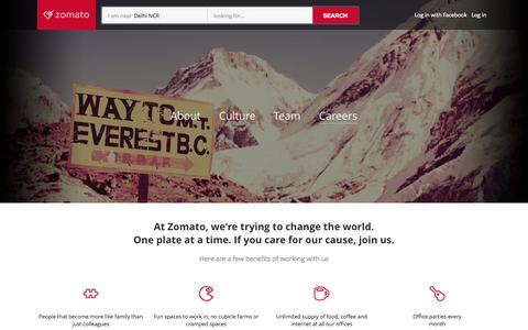 Screenshot of Jobs Page zomato.com - Careers | Zomato - captured Oct. 28, 2014
