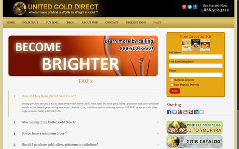 Screenshot of FAQ Page unitedgolddirect.com - Faq's | United Gold Direct - captured Aug. 12, 2016