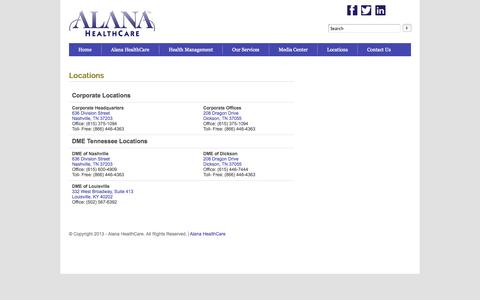 Screenshot of Locations Page alanahealthcare.com - Locations | Alana HealthCare - captured Sept. 13, 2014