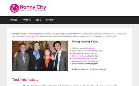 Screenshot of Home Page nannycity.com - Nanny agency nyc | Nanny agency | Nanny Jobs | Baby Nurses - captured Dec. 21, 2016