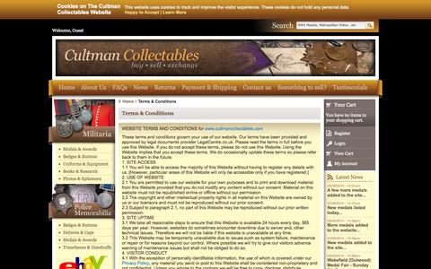 Screenshot of Terms Page cultmancollectables.com - Terms & Conditions | Cultman Collectables - captured Sept. 30, 2014
