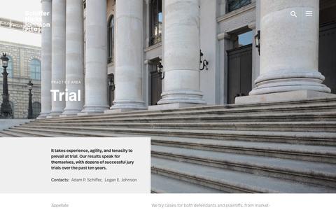 Screenshot of Trial Page shjlawfirm.com - Trial - Schiffer Hicks Johnson PLLC - captured Oct. 1, 2018