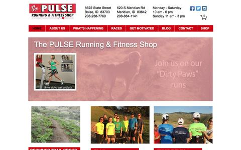Screenshot of Home Page pulserunning.com - Running Shoes, Video Gait Analysis, trail running, Boise, Meridian, ID - captured June 19, 2016