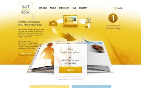 Screenshot of Login Page justclickbook.com - Upload - captured Oct. 6, 2014