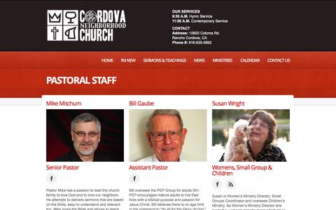 Screenshot of About Page cnchurch.org - Pastoral Staff  |  Cordova Neighborhood Church | Caring for the Neighborhood and Beyond - captured Oct. 3, 2014