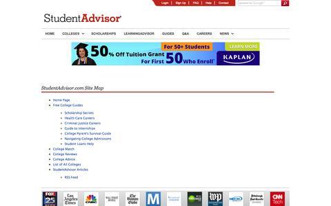 Screenshot of Site Map Page studentadvisor.com - Site Map - StudentAdvisor - captured Sept. 23, 2014