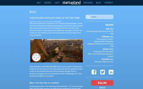 Screenshot of Blog startupland.tv - Startupland - captured Sept. 30, 2014