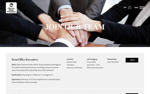 Screenshot of Jobs Page clarionchennai.com - Careers | Clarion Hotel President - captured July 18, 2018