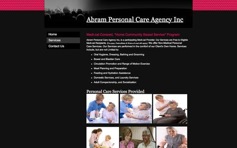 """Screenshot of Services Page abrampersonalcareagency.com - Abram Personal Care Agency Inc - Medi-cal Covered, """"Home Community Based Service"""" Program - captured Feb. 5, 2016"""