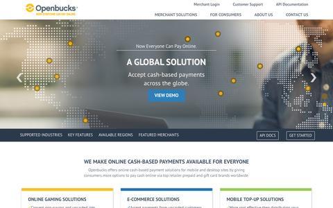 Screenshot of Home Page openbucks.com - Openbucks® - Now Everyone Can Pay Online. - captured Oct. 15, 2015