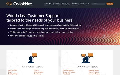Screenshot of Support Page collab.net - Support | CollabNet - captured July 6, 2017