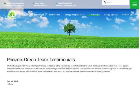 Screenshot of Testimonials Page phoenixgreenteam.com - Testimonials From Arizona Homeowners About Their Energy Savings - captured Dec. 8, 2018