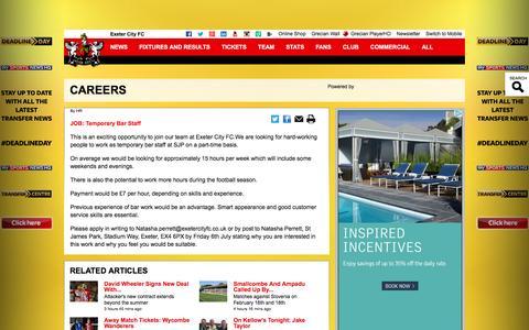 Screenshot of Jobs Page exetercityfc.co.uk - CAREERS - captured Feb. 1, 2016
