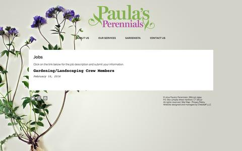 Screenshot of Jobs Page paulasperennials.com - Jobs - Paula's Perennials - captured Oct. 6, 2014