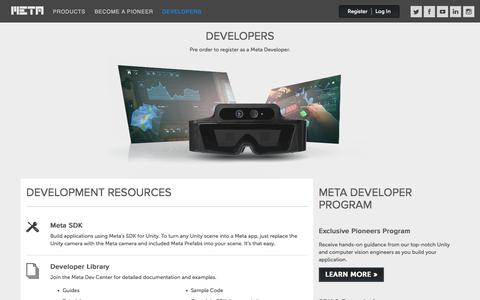 Screenshot of Developers Page spaceglasses.com - Developers : Meta Company - captured Nov. 3, 2014