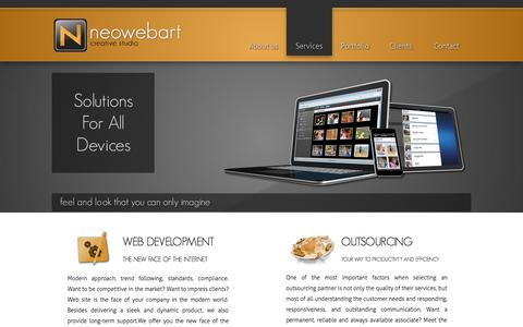 Screenshot of Services Page neowebart.com - NEOWEBART Creative Studio - Web design, Web development, Programming, E-commerce solutions. | SERVICES - captured Oct. 26, 2014