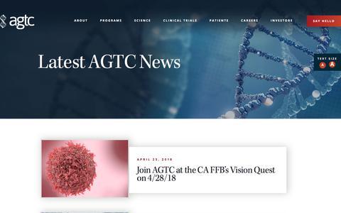 Screenshot of Press Page agtc.com - News - captured July 13, 2018