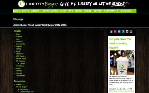 Screenshot of Site Map Page givemelibertyburger.com - Sitemap - Liberty Burger - Dallas - captured Oct. 2, 2014