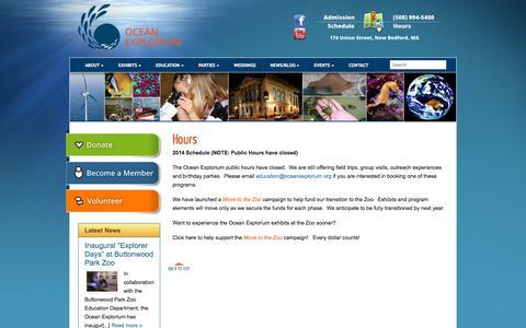 Screenshot of Hours Page oceanexplorium.org - Hours | New Bedford Ocean Explorium - captured Oct. 27, 2014