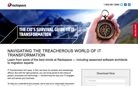 Screenshot of Landing Page rackspace.com - Download Our Ebook: The CIO's Survival Guide to IT Transformation - captured July 1, 2017