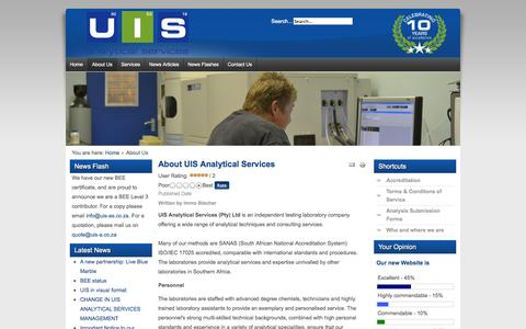 Screenshot of About Page uis-as.co.za - UIS Analytical Services - About Us - captured Oct. 3, 2014