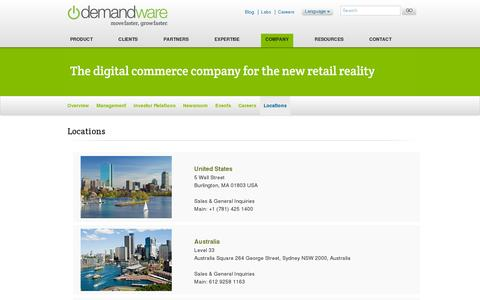 Screenshot of Locations Page demandware.com - Locations - captured July 21, 2014