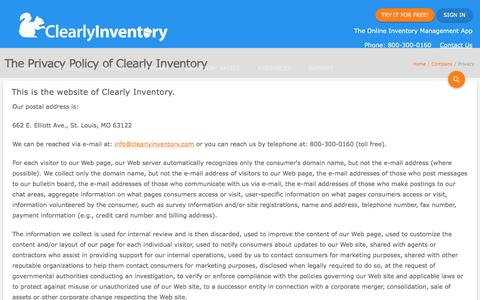 Screenshot of Privacy Page clearlyinventory.com - Privacy Policy - Clearly Inventory - captured May 18, 2017