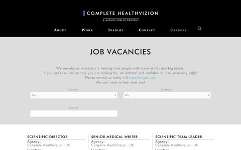 Screenshot of Jobs Page complete-hv.com - Job vacancies in medical communications - Complete HealthVizion - captured Aug. 20, 2017