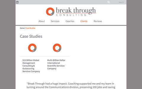 Screenshot of Case Studies Page breakthroughconsulting.com - Case Studies Archive - Break Though Consulting - captured Aug. 3, 2018