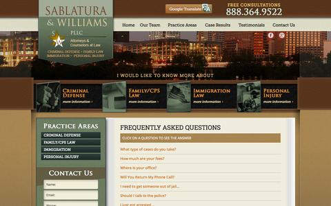 Screenshot of FAQ Page austinlegal.net - Frequently Asked Questions | Sablatura Williams PLLC - captured Oct. 4, 2014