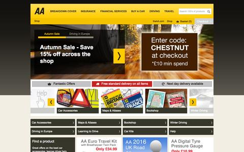 Screenshot of theaa.com - AA Shop | Car Accessories, Maps, Atlases and more - captured Oct. 9, 2015