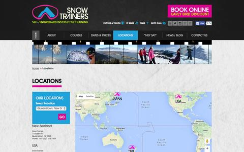 Screenshot of Locations Page snowtrainers.com - NZ Ski, USA,  Niseko - Snow Trainers Locations - Snow Trainers - captured Jan. 11, 2016