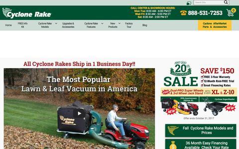 Screenshot of Home Page cyclonerake.com - Cyclone Rake: The #1 Lawn & Leaf Vacuum In America | Cyclone Rake - captured Oct. 22, 2017