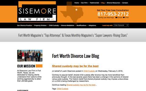 Screenshot of Blog thetxattorneys.com - Fort Worth Divorce Blog - captured Feb. 4, 2016