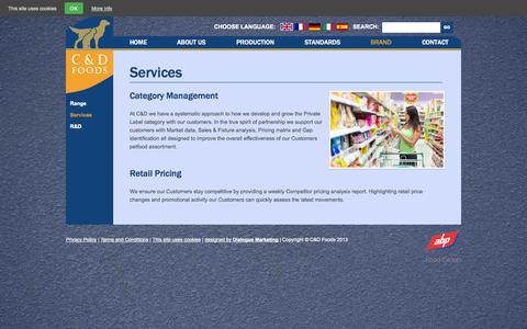 Screenshot of Services Page cdfoods.com - Services | C & D Foods - captured Oct. 1, 2014