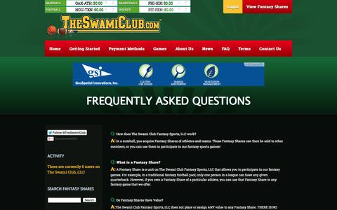 Screenshot of FAQ Page theswamiclub.com - The Swami Club - Fantasy Sports at it Best! - captured Oct. 26, 2014