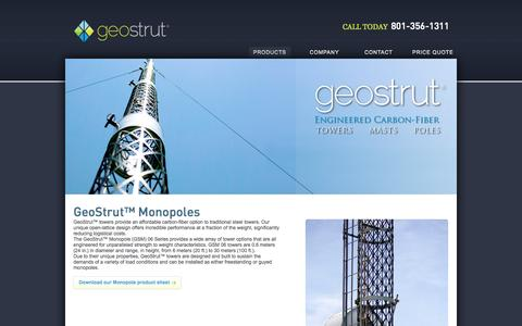 Screenshot of Products Page geostrut.net - Monopoles | GeoStrut - captured Oct. 2, 2014