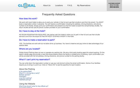 Screenshot of FAQ Page globalairportparking.com - Global Airport Parking - Frequently Asked Questions - captured Sept. 19, 2014
