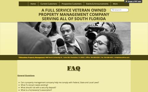 Screenshot of FAQ Page tdsunshine.com - TDSunshine Property Management Fort Lauderdale Broward County South FL | FAQ - captured Nov. 29, 2016
