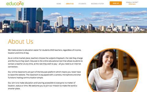 Screenshot of About Page educaze.com - Educaze About Us - Educaze - captured Dec. 15, 2015